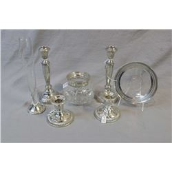 Selection of sterling silver including two pairs of candlestick cornflower bud vase and plate with p