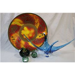 Selection mid century decorative collectibles including Chalet center bowl, art glass decorative orn