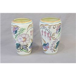"Pair of Staffordshire vases ""Floral Fantasyware"" 7 1/2"""