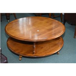"Round maple 40"" diameter round and rotating coffee table with under storage"