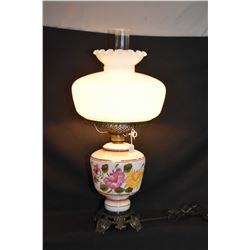 Vintage electric oil lamp style banquet lamp with fluted milk glass shade with clear chimney, and de