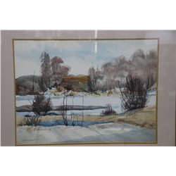 "Framed watercolour painting of a wintry landscape signed by artist Murray MacDonald, 20"" X 27"""