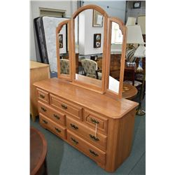 Modern seven drawer mirrored oak dresser made in Canada by Shermag