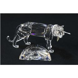 Swarovski crystal Collectors edition 2002 Isadora tiger figure with crystal plaque and fitted box wi