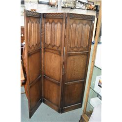 "Antique three section drape panel oak room divider, each panel is 66"" X 18"""