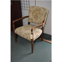 Antique tapestry upholstered open arm parlour chair with reeded supports