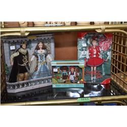 Three boxed Barbie dolls including Camelot's king and queen Arthur and Guinevere, Kelly dolls Hansel