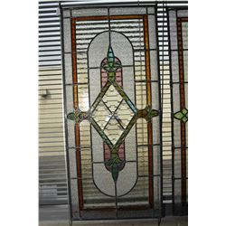 "Antique leaded and bevelled glass panel, 36"" X 16"""