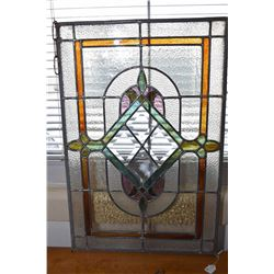 "Antique leaded and bevelled glass panel, 24"" X 16"""