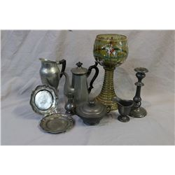 Selection of antique pewter ware including cocoa pot, Strom pitcher, lidded double handled sugar bow