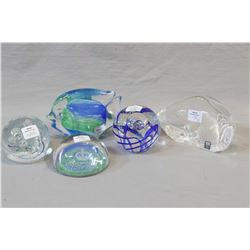Five art glass paperweights including Marcolin, Cathness Reverie Scotland, Glass eye studio, 2005 Ro