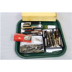 Large selection of vintage collectible pens including fountain pens, nibs, wooden pencil box etc.