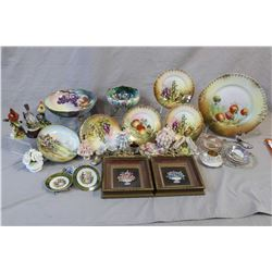 Two tray lots of vintage porcelain including hand-painted footed bowls including one with Vienna mar