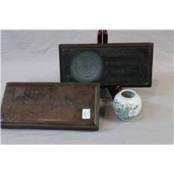 "Antique Oriental Duan ink stone in fitted box circa 1910 and a 3"" hand-painted ""mountain landscape"""