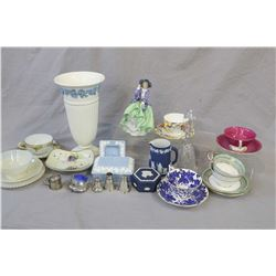 Two tray lots of collectibles including Wedgwood Queen's ware and Jasper, Royal Doulton Top O' the H