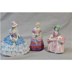 Three Royal Doulton figurines including Chloe and smaller Bo Peep HN1811 and The Little Bridesmaid H