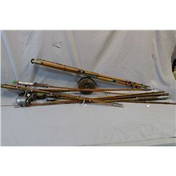 Six split cane fishing rods, assorted brands and sizes, some with reels including spinster etc.