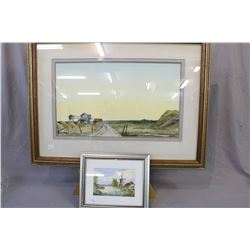 Two framed original art works including watercolour painting of a rural scene signed by artist Jim (