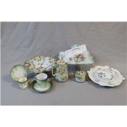 "Selection of vintage china collectibles including hand-painted footed bowl, Royal Winton ""Summertime"