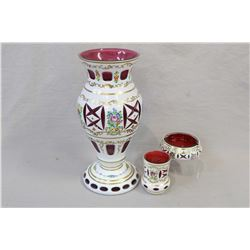"Bohemian milk glass cut to ruby baluster vase with hand painted decoration 12"" in height plus a matc"