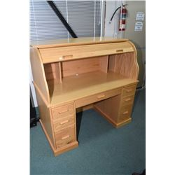 Semi contemporary S-curve oak roll top desk, set up for computer including tower storage, keyboard d