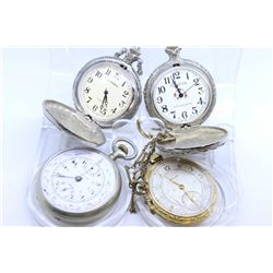 Four pocket watches including two quartz with embossed cases and two vintage including French watch