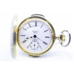 Swiss size 12 half (demi) hunter 17 jewel pocket watch, dating to 1960's with split nickel plate ste