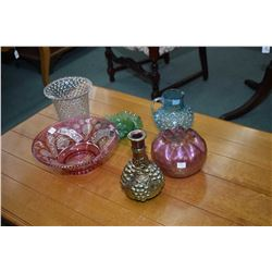 """Six pieces of vintage glass including cranberry flash, cut to clear bowl 11 1/2"""" in diameter, hobnai"""