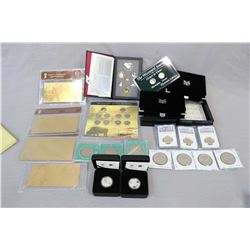 Selection of collectible coins and coin sets including 1992 Canadian boxed decimal set with silver d