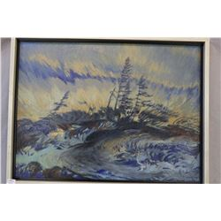 """Framed oil on board painting """"On Windy Ridge"""" signed R. Guest 1969 with paper label on verso, 18"""" X"""