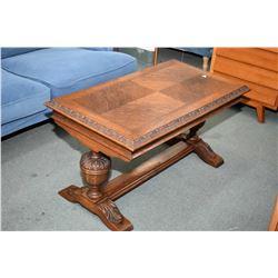 Antique matched grain oak Tudor style coffee table