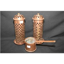 Pair of Arts and Crafts perforated copper candleholders and a English hallmarked copper dipper
