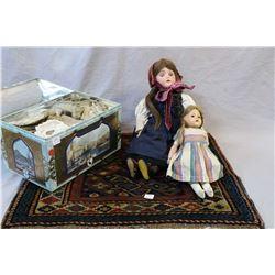 """Antique German bisque head 20"""" doll marked """"Catterfelder Puppenfabrik No. 2"""" on articulated composit"""
