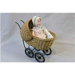 Small antique Germany bisque Porzellanfabrik Mengersgereuth 914 doll with glass sleep eyes, open mou