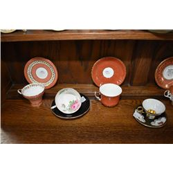 Seven china cups and saucers including one demitasse, Aynsley, Adderley etc.