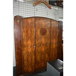 """Antique English matched grain walnut three door wardrobe, 78"""" in height and 71"""" in width, matches lo"""