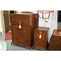 Antique English matched grain walnut three drawer and two door chiffarobe, a single door with single