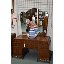 Antique English matched grain walnut vanity with triple swing mirror