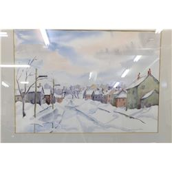 """Original watercolour painting of winter street scene signed by artist Dorothy Walter, 16"""" X 22"""""""