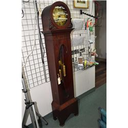 Antique long case clock with two chain weight driven chiming movement, visible weights and pendulum