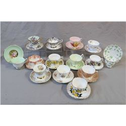 Fourteen china cups and saucers including Shelley, Aynsley, Royal Albert etc.