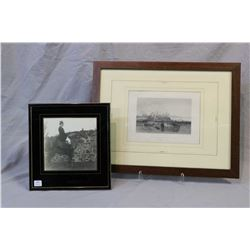 Framed black and white etching titled Pozzulo, the Ancient Puteoli and a vintage photograph of and e