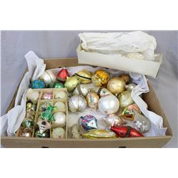 Selection of vintage and collectible glass Christmas tree ornaments
