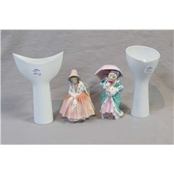Two small Royal Doulton figurines including Lily and Miss Muppet HN1937 plus two Rosenthal white war