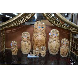 Set of ten wooden Russian nesting dolls