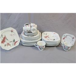 Mikasa silk flowers dinnerware including setting for six of dinner and lunch plates, soup bowls, cup