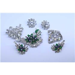 Two vintage signed Eisenberg clear diamante brooches, one with matching earrings plus a signed Bouch