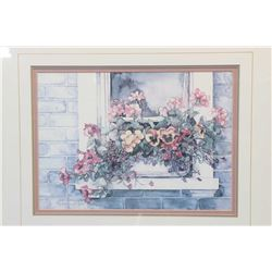 Framed limited edition print and a selection of Royal Albert Petit point china including five cups a