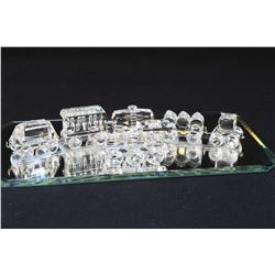 Swarovski crystal train including Express locomotive, tender, carriage, petrol, tipping and tank wag