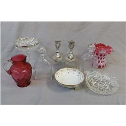 Selection of vintage collectibles including cut crystal comport with sterling rim, cased ruby ruffle